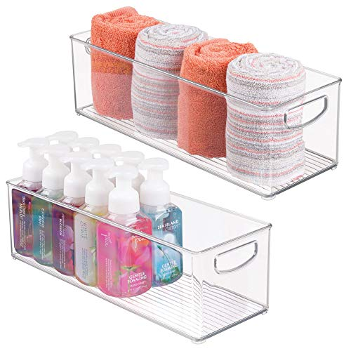 "mDesign Storage Bins with Built-in Handles for Organizing Hand Soaps, Body Wash, Shampoos, Lotion, Conditioners, Hand Towels, Hair Accessories, Body Spray, Mouthwash - 16"" Long, Pack of 2, Clear"