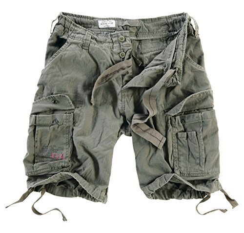 Surplus Men's Airborne Vintage Shorts Washed Olive Size ()