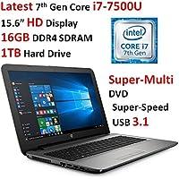 2017 Newest HP Pavilion 15.6 Premium High Performance HD Laptop PC, Intel Core i7-7500U (up to 3.5GHz), 16GB Memory, 1TB HDD, Super-Multi DVD, Wi-Fi, Bluetooth, RJ-45, Webcam, USB 3.1, Windows 10