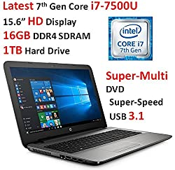 "2017 Hp Pavilion 15.6"" High Performance Hd Laptop Pc, Intel Core I7-7500u (Up To 3.5ghz), 16gb Memory, 1tb Hdd, Super-multi Dvd, Wi-fi, Bluetooth, Rj-45, Webcam, Usb 3.1, Windows 10"