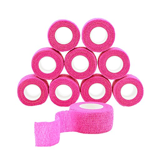 (GooGou Self Adherent Wrap Bandages Self Adhering Cohesive Tape Elastic Athletic Sports Tape for Sports Sprain Swelling and Soreness on Wrist and Ankle 10PCS 1 in X 14.7 ft (pink))
