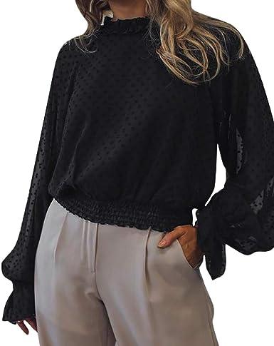 Sylar Camiseta De Mujer Manga Larga Blusas De Mujer con Botones Camisetas Mujer Otoño Color Sólido Camisa De Mujer Collar De Pie Casual Camisa Mujer Suave Cómodo: Amazon.es: Ropa y accesorios