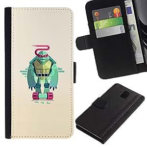 NEECELL GIFT forCITY // Billetera de cuero Caso Cubierta de protección Carcasa / Leather Wallet Case for Samsung Galaxy Note 3 III // Minimalista Guerrero Tortuga