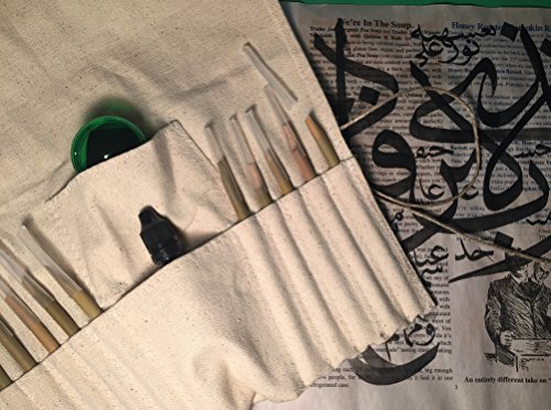Arabic Calligraphy Set 10 Bamboo pens 30ml Black ink 30ml inkwell with sponge.