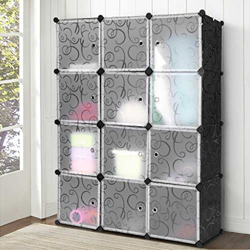 LANGRIA 12 Cubby Shelving Modular Cube DIY Shoe Rack, Storage Drawer Unit Multi Use Modular Organizer Plastic Cabinet with Doors, Black and White Curly Pattern