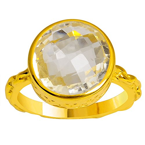 Orchid Jewelry Genuine Citrine 9k Gold Overlay 925 Sterling Silver Ring for Women and Girls, November Birthstone Ring, Perfect for Engagement, Anniversary, Wedding (12MM Checkerboard Round)