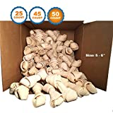 123 Treats | Rawhide Bones 5-6″ (50 Count) 100% Natural Beef Hides Chews| Quality Dog Bones| Packed in The USA