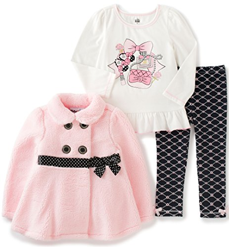 kids-headquarters-baby-3-pieces-winter-sherpa-jacket-with-bow-pants-set-pink-18-months