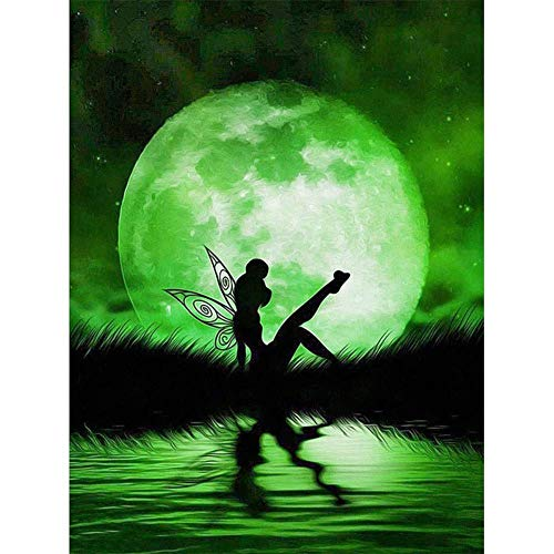 5D Diamond Painting Full Drill,Paint by Number Kits Embroidery Paintings Pictures Arts Craft Green Spirit Under The Moon 11.8x15.7in 1 by SAROW]()