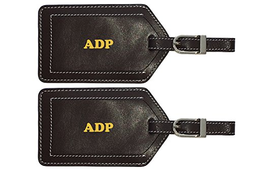 Personalized Monogrammed Brown Leather Luggage Tags - 2 Pack