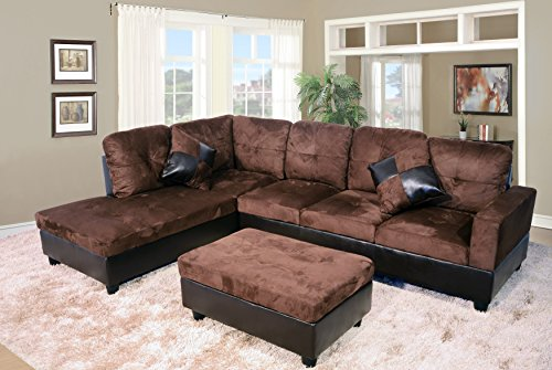 Lifestyle Furniture Avellino Left Hand Facing Sectional, Dark Brown