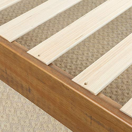 ZINUS Alexis Deluxe Wood Platform Bed Frame / Solid Wood Foundation / No Box Spring Needed / Wood Slat Support / Easy Assembly, Rustic Pine, Queen 51Jdm1 tRDL