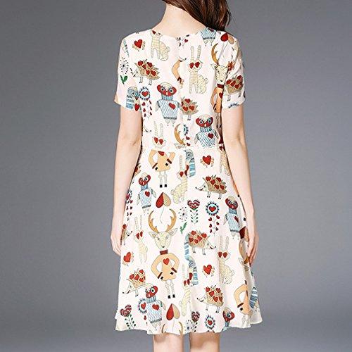 Honghu Drucken Damen Kurze Ärmel Sommer Printkleider Casual Hals kleid Elegant CRCPfq