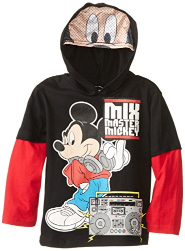 Disney Little Boys' Mickey Hooded Top with Printed Mesh Mask, Black/Red, 6