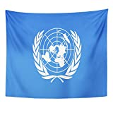 VaryHome Tapestry Blue Organisation Drawing of the Flag United Nations Colorful Symbol Organization Home Decor Wall Hanging for Living Room Bedroom Dorm 50x60 Inches