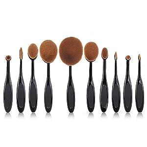 Beauty Kate Pro 10 Pcs Oval Makeup Brush Set Foundation Contour Concealer Blending Cosmetic Brushes