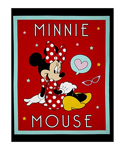 Disney Minnie Traditional Minnie Mouse 36in Panel Black Fabric By The Yard