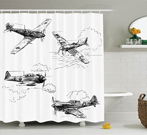 Ambesonne Airplane Decor Collection, World War Aircraft Army German Pilot Veteran Aggression Historic Vehicle Pict, Polyester Fabric Bathroom Shower Curtain Set with Hooks, Black - Warcraft Machine Flying