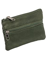 Marshal Womens Leather Change Purse w/ Key Ring (Green)