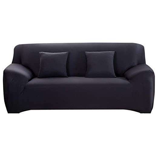 Funda de sofá elástica para sofá, sofá, sillón, Funda de sofá, Funda de sofá, Funda de sofá, 1/2 / 3/4 plazas, no Incluye Silla, Negro, 3 Sitzer
