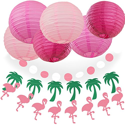 Bobee Hawaiian Beach Party Decorations Pink Flamingo Palm Tree Pink Paper Lanterns Set of -
