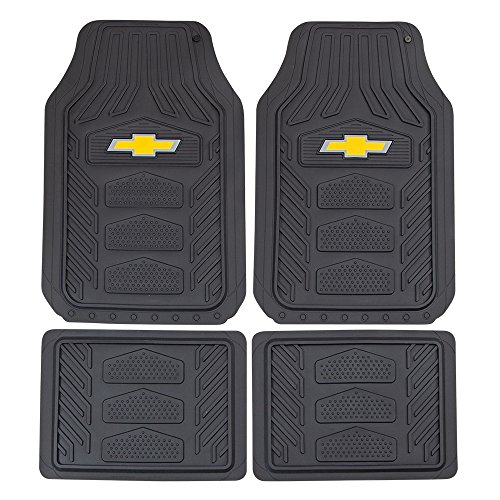 Logo Black Car Mat - Plasticolor 001664R03 Weatherpro Black One Size Chevrolet Logo Car Truck SUV Heavy Duty Rubber, 4 Piece Front and Rear Floor Mat Set