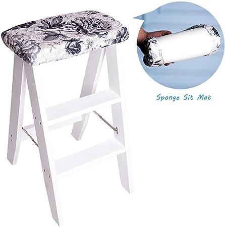 Taburete de escaleras de 3 escalones Uso Dual Cocina Escaleras La Seguridad Casa Taburetes Multifunción de Interior Plegable Escalera de Tijera (Color Blanco): Amazon.es: Hogar