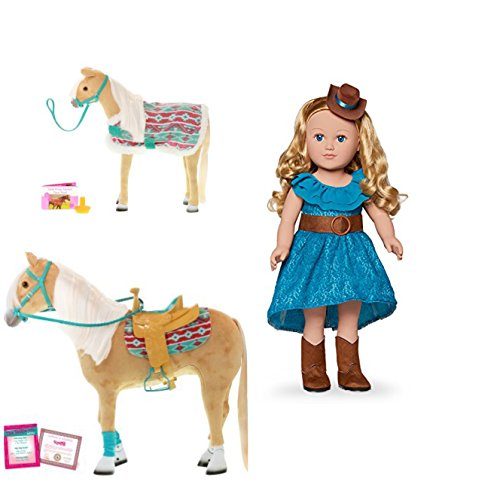 HOLIDAY BUNDLE !! My Life As 18-inch Cowgirl Doll, Blonde WITH My Life As 18 Inch Palomino Horse AND My Life As Palomino Foal … by myLife Brand Products