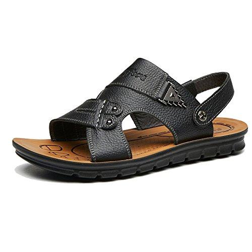 De Negras Zapatos Hombres Baotou Casuales Cuero Del Wknbeu Sandalias Aire Al La Libre Marrones A Los Transpirables Playa txwqUE8A