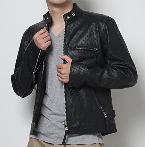 【本革】革ジャン バッファローメッシュレザー メンズ シングルライダースレザージャケットpb-2417