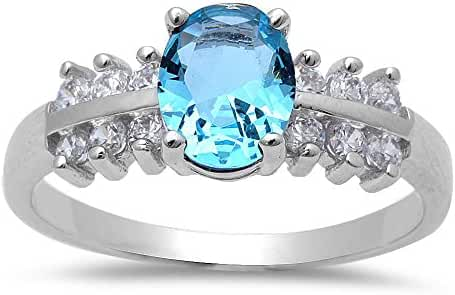 Simulated Aquamarine & Cubic Zirconia .925 Sterling Silver Ring Sizes 5-10