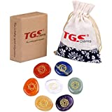 TGS Gems® Healing Crystals - 7 Polished ,Engraved Chakras Holistic Health Care Pebble palm Products
