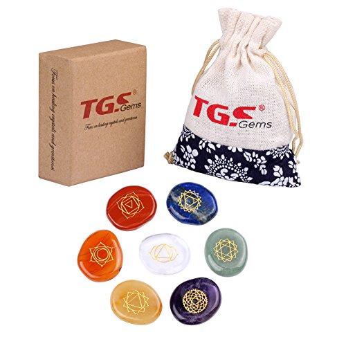 TGS Gems Reiki Chakra Stones with Chakra Case Stones with Engraved Symbols, Set of 7 (Gem Chakra)