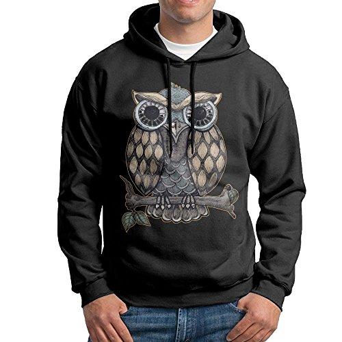 ZhiqianDF Cool Owl Men's Pullover EcoSmart Fleece Hooded Sweatshirt Black - Like Makeup Swift Taylor