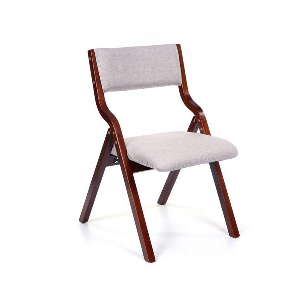 D FENGFAN Folding Chair Brown Wood Backrest Chair Soft Cushion Cloth Bedroom Desk Chair Cafe (color   G)