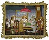 Deluxe Pillows Seven Dogs at Poker - 18 x 22 in. needlepoint pillow