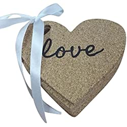 10 Heart Shaped Cork Coasters - Love Inscribed on each Coaster - Perfect wedding reception table decoration - bridal party & baby shower favors – Gift Set or Keep Yourself! - by Jolly Jon