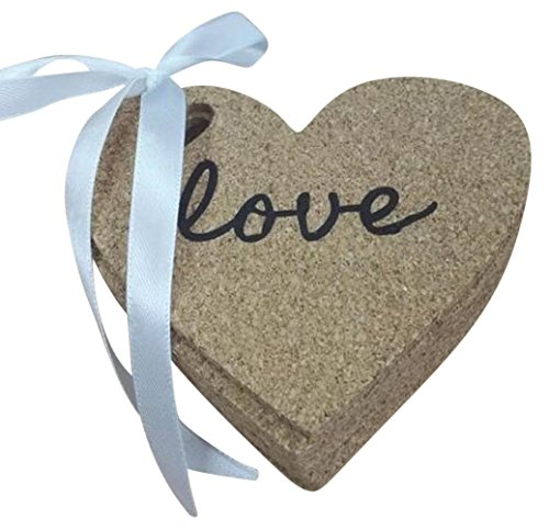 10 Heart Shaped Cork Coasters - Love Inscribed on each Coaster - Perfect wedding reception table decoration - bridal party & baby shower favors – Gift Set or Keep Yourself! ()