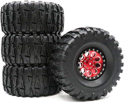 RC 2.2 クローラー 泥タイヤ タイヤ 高さ135mm & アルミニウム 2.2 ビードロック ホイールリム 4個