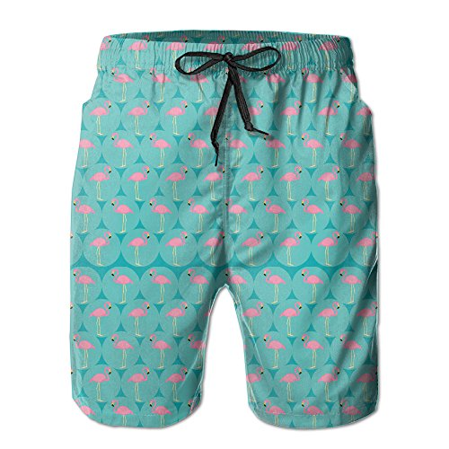 CREAT Men's Quick Dry Flamingo Wall Swim Trunks With Pockets