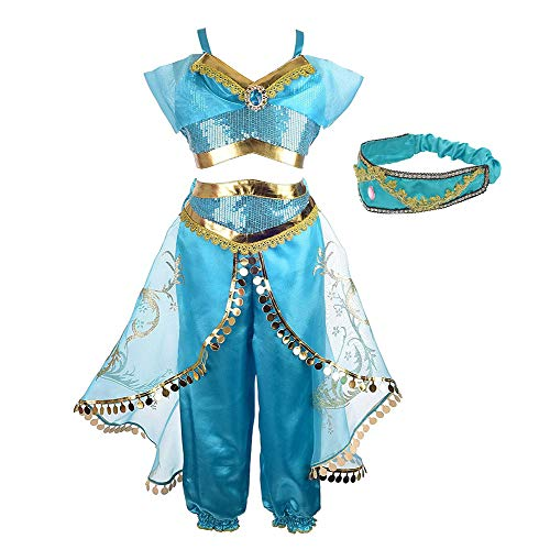 Princess Jasmine Costume for Girls Arabian Princess Jasmine Dress up Cosplay Costumes Halloween Party Fancy Dress for Kids -