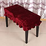 Andoer Universal Piano Stool Chair Bench Cover Pleuche Decorated with Macrame 75 * 35cm for Piano Dual Seat Bench RED