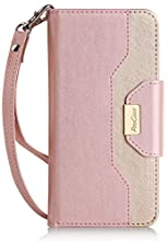 ProCase iPhone 8 iPhone 7 Wallet Case, Stylish Folio Flip Card Case Stand Cover for Apple iPhone 7 / iPhone 8, with Kickstand Card Holder -Pink