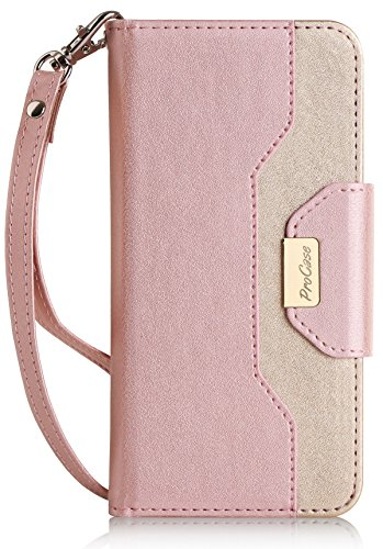 Purse Mirror Case (iPhone 7 / iPhone 8 Case Cover, ProCase Stylish Wallet Flip Card Case Slim Stand Cover for Apple iPhone 7 / iPhone 8, with Card Slots and Mirror -Pink)