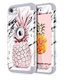 Image of Dailylux iPod Touch 5 Case,iPod Touch 6 Case,3in1 Hybrid Impact Resistant Shockproof Hard Case Soft Silicone Protective Cover for Apple iPod Touch 5th 6th Generation Marble Pineapple Grey
