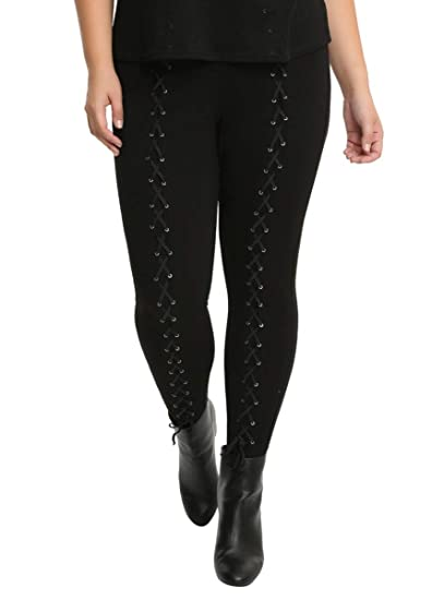 9a29ffaa354791 Image Unavailable. Image not available for. Color: Hot Topic Blackheart Lace -Up Leggings ...