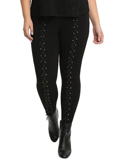 802e88a57a52e0 Hot Topic Blackheart Lace-Up Leggings Plus Size at Amazon Women's ...