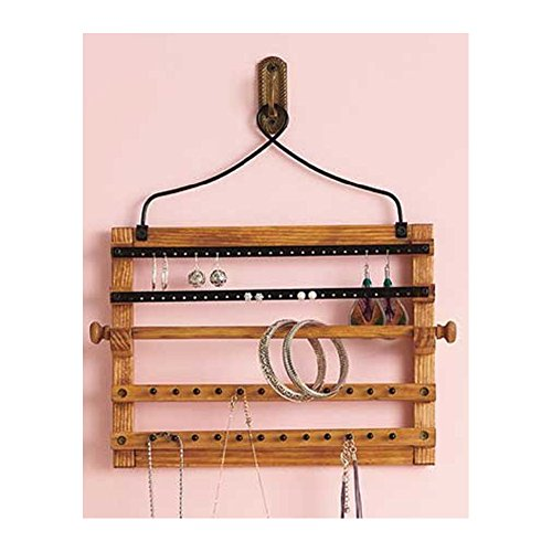 Wooden Bohemian Design Jewelry Hooks Storage Hanging Organizer (Space Saver)