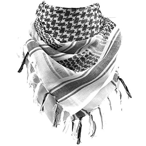 FREE SOLDIER 100% Cotton Military Shemagh Tactical Desert Keffiyeh Head Neck Scarf Arab Wrap(White) -
