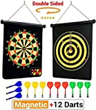 magnetic dart board | double sided rollup dart board | 12 safe darts of 4 colors and 2 dart games